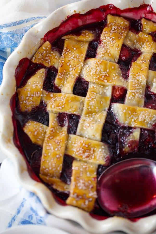 Delicious blackberry cobbler with lattice crust