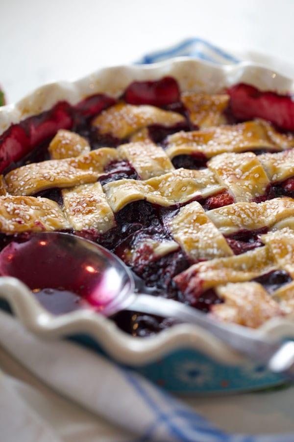Mixed berry cobbler with lattice crust
