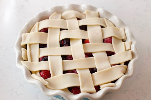 Mixed berry cobbler with lattice crust