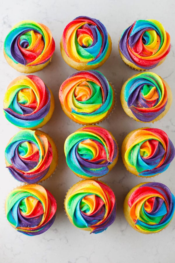 Brightly colored frosting