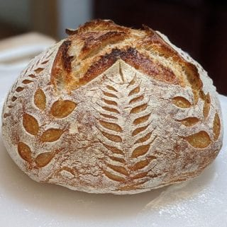 Sourdough bread baked with pretty pattern