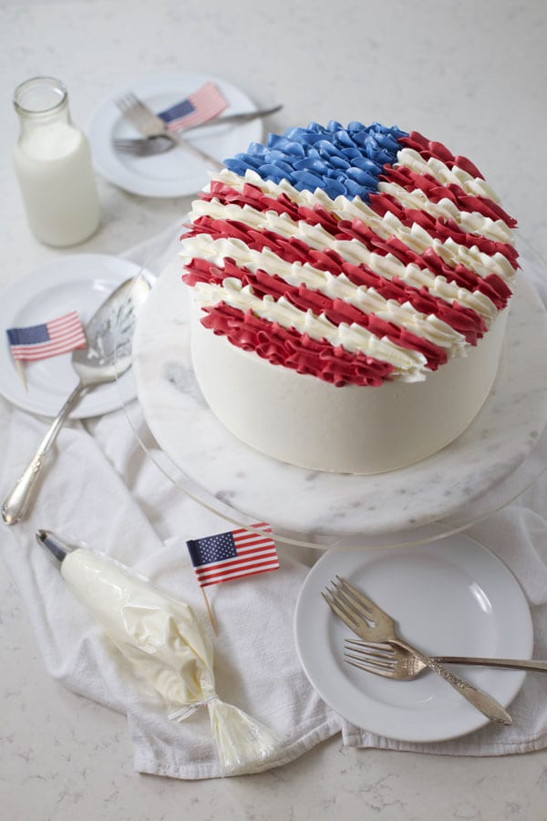 Buttercream american flag cake