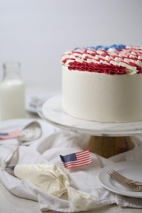 Patriotic dessert flag cake