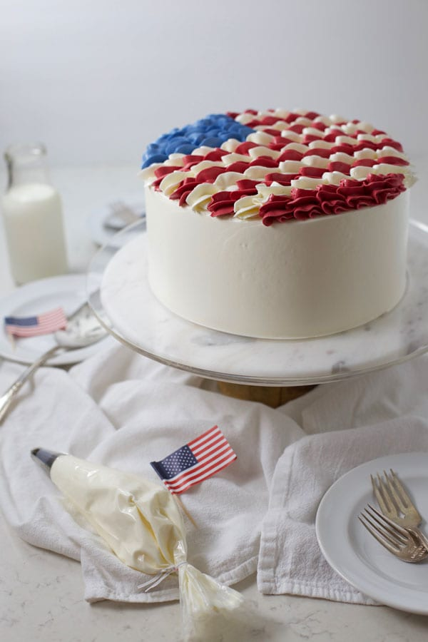 Side view american flag layer cake