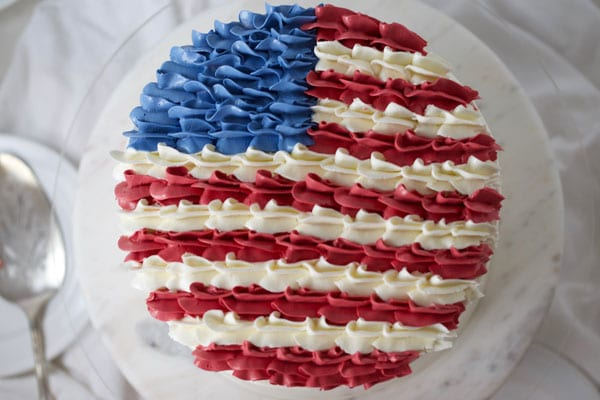Close up of american flag cake