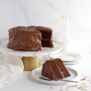 Aunt Emily's chocolate fudge cake on cakestand