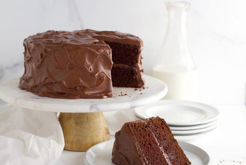 Aunt Emily's chocolate fudge cake on cakestand