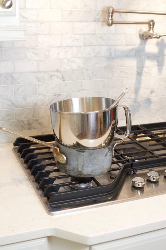 Heat egg whites in double boiler