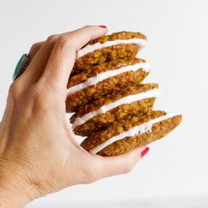 Hand holding oatmeal cream pies
