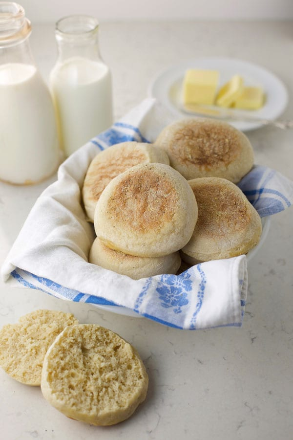 Basket full of Sourdough English Muffins