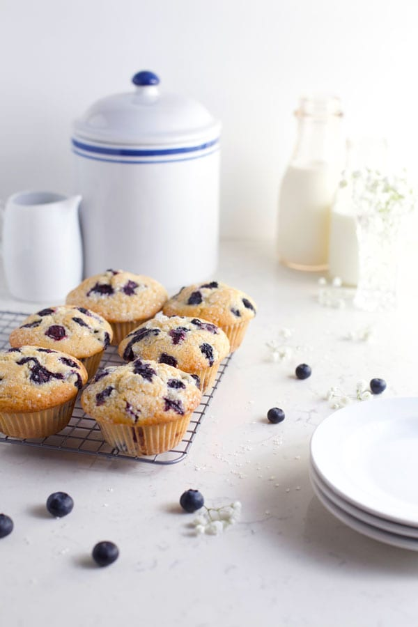 Row of six blueberry muffins