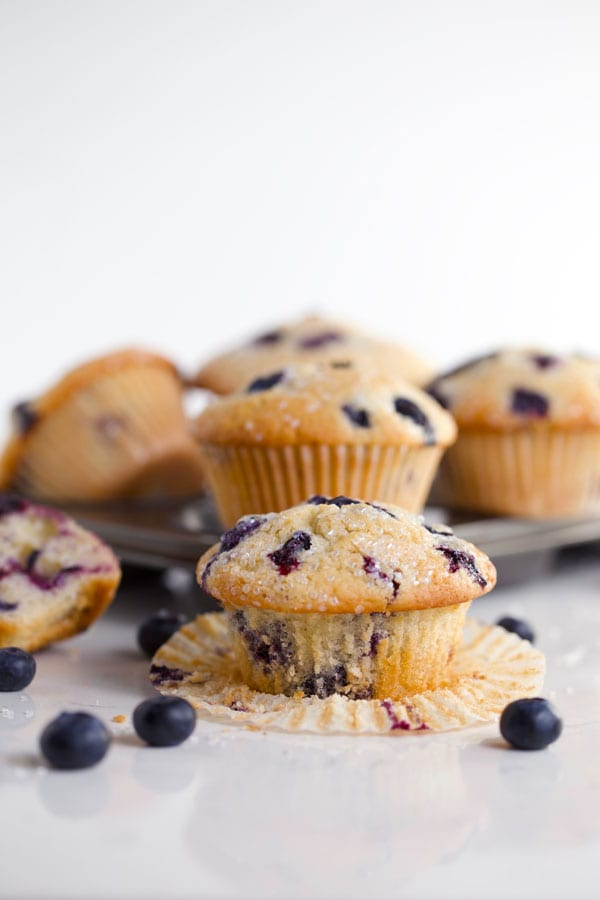 Bakery style lemon blueberry muffins