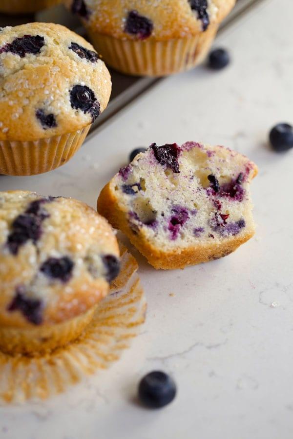Blueberry muffin cut in half
