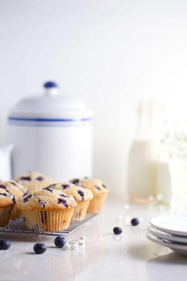 Blueberry muffins with lots of berries and glass of milk