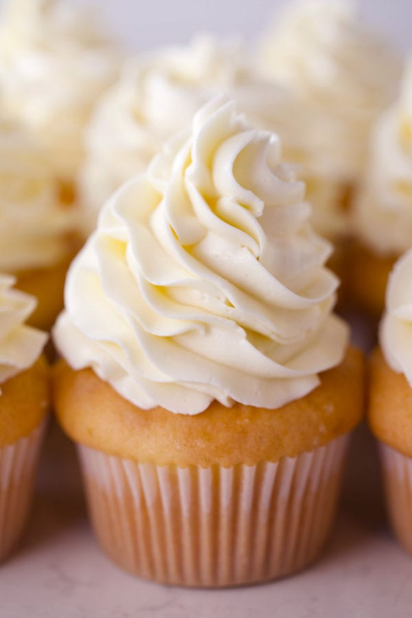 One Swiss meringue buttercream cupcake