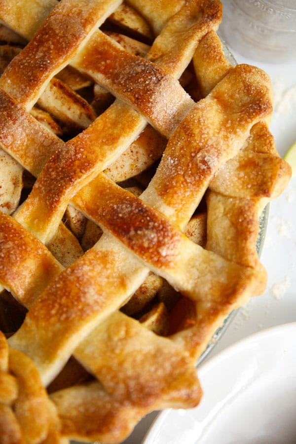 Flaky crust lattice apple pie