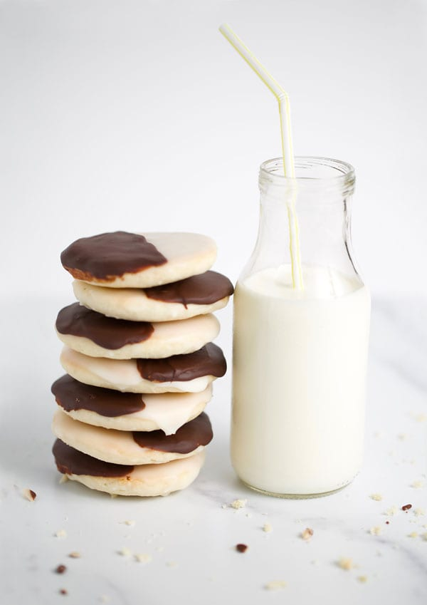 Stack of black and white gluten free cookies