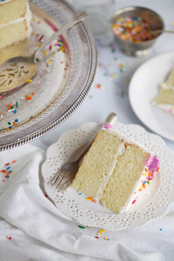 Classic white cake made from scratch