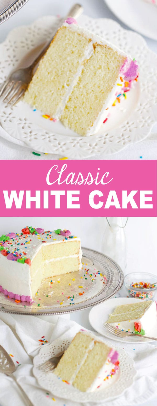 Slices of classic white cake on plates