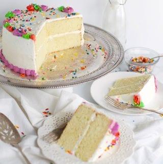 Classic white cake birthday cake slices