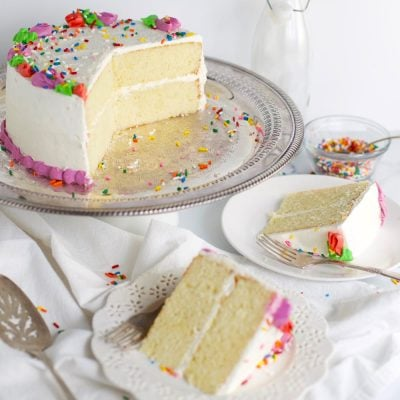 Classic white cake birthday cake slices