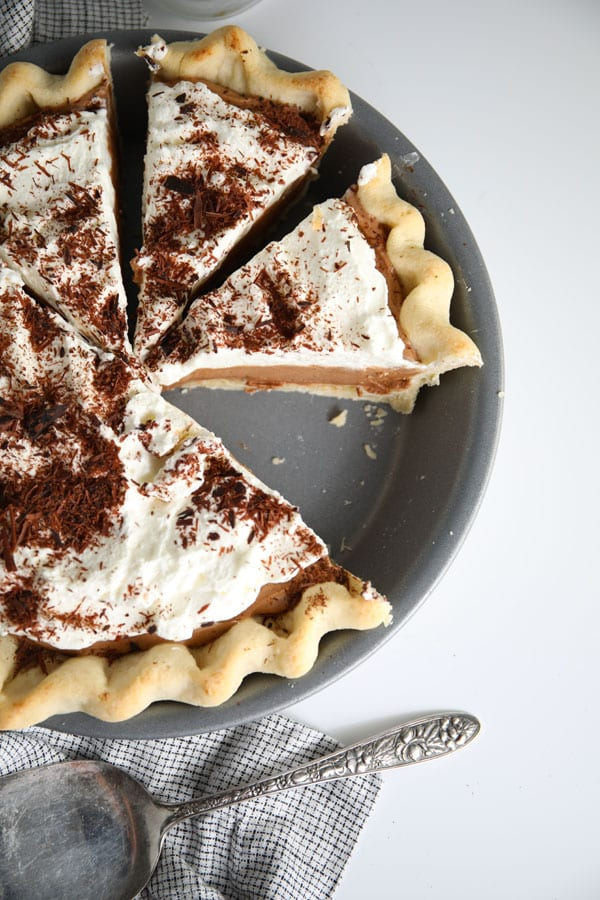 Homemade French silk pie with flaky crust made from scratch