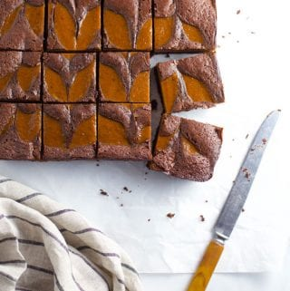 Pumpkin swirl brownies cut into squares