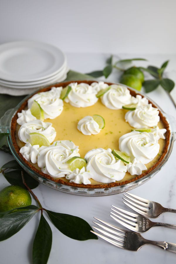 Classic Key Lime Pie with Whipped Cream and graham cracker crust