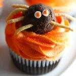 Halloween Spider cupcakes chocolate cupcakes with orange colored vanilla buttercream frosting with chocolate truffle spiders