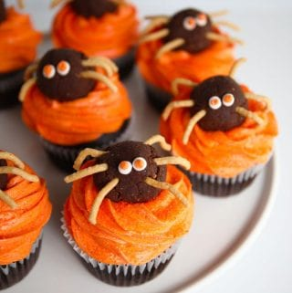 Halloween Spider chocolate cupcakes with buttercream frosting