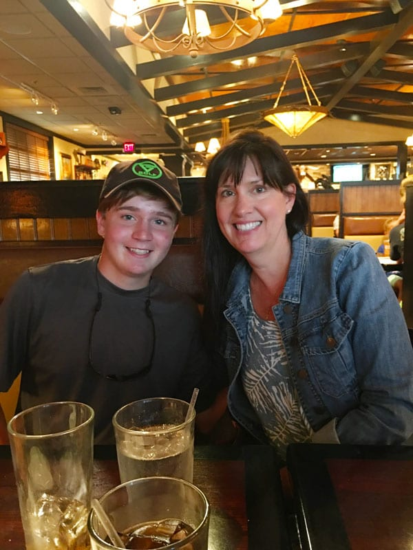 Mom and son at a restaurant