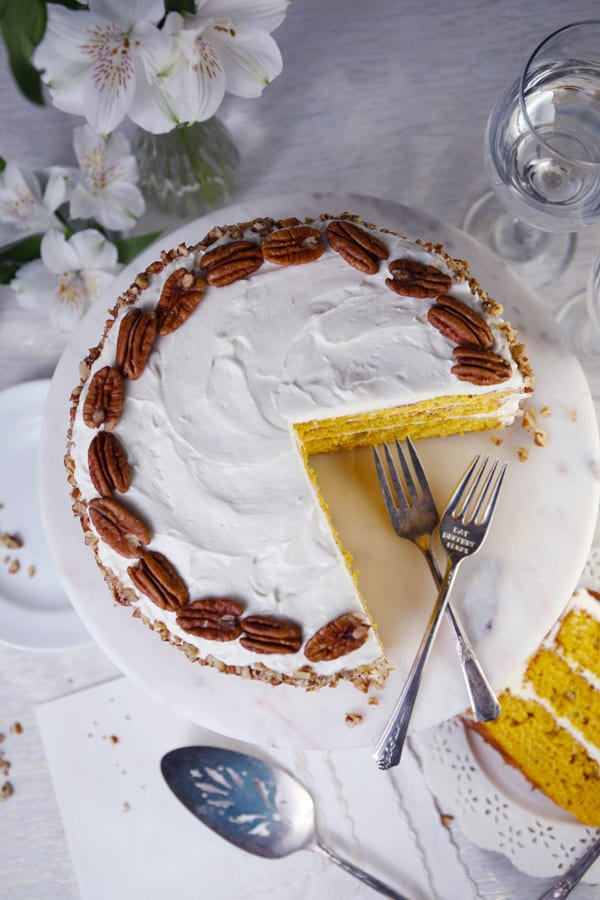 Pumpkin spice pecan layer cake with cream cheese frosting recipe