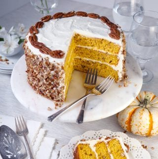 Pumpkin spice pecan layer cake with cream cheese frosting