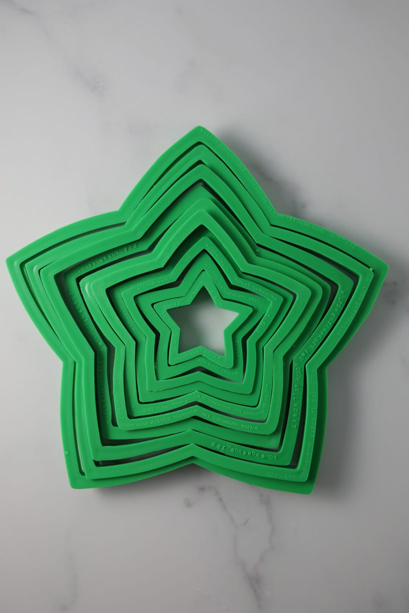 Cookie cutters for a Christmas cookie tree