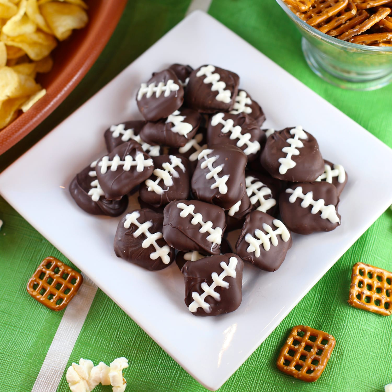 Chocolate covered pretzel footballs for football season
