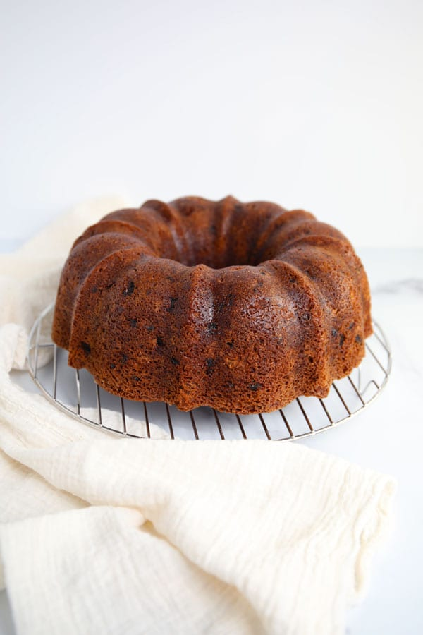 Naked bundt cake before icing spice cake