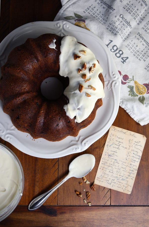 Grandma's vintage spice bundt cake recipe with cream cheese icing