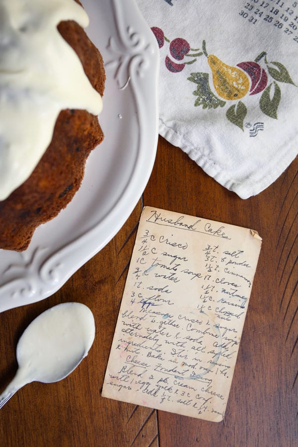 Recipe card with Grandma's vintage spice bundt cake recipe
