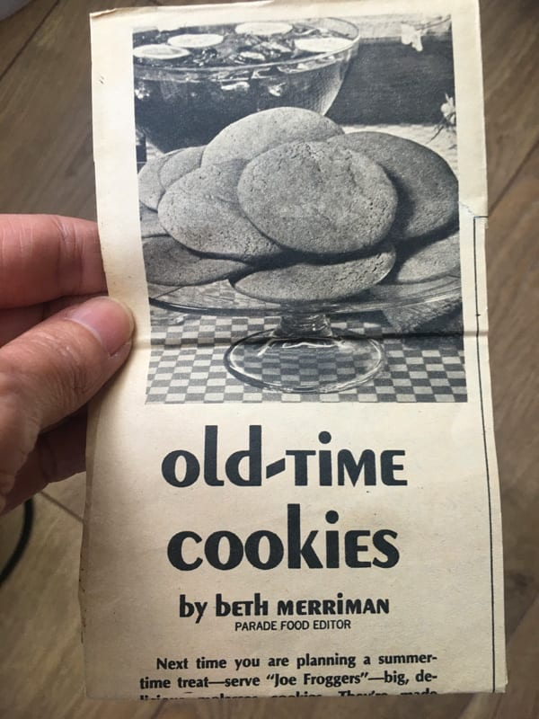 Joe Froggers Old-Time cookies recipe from Parade magazine 1979