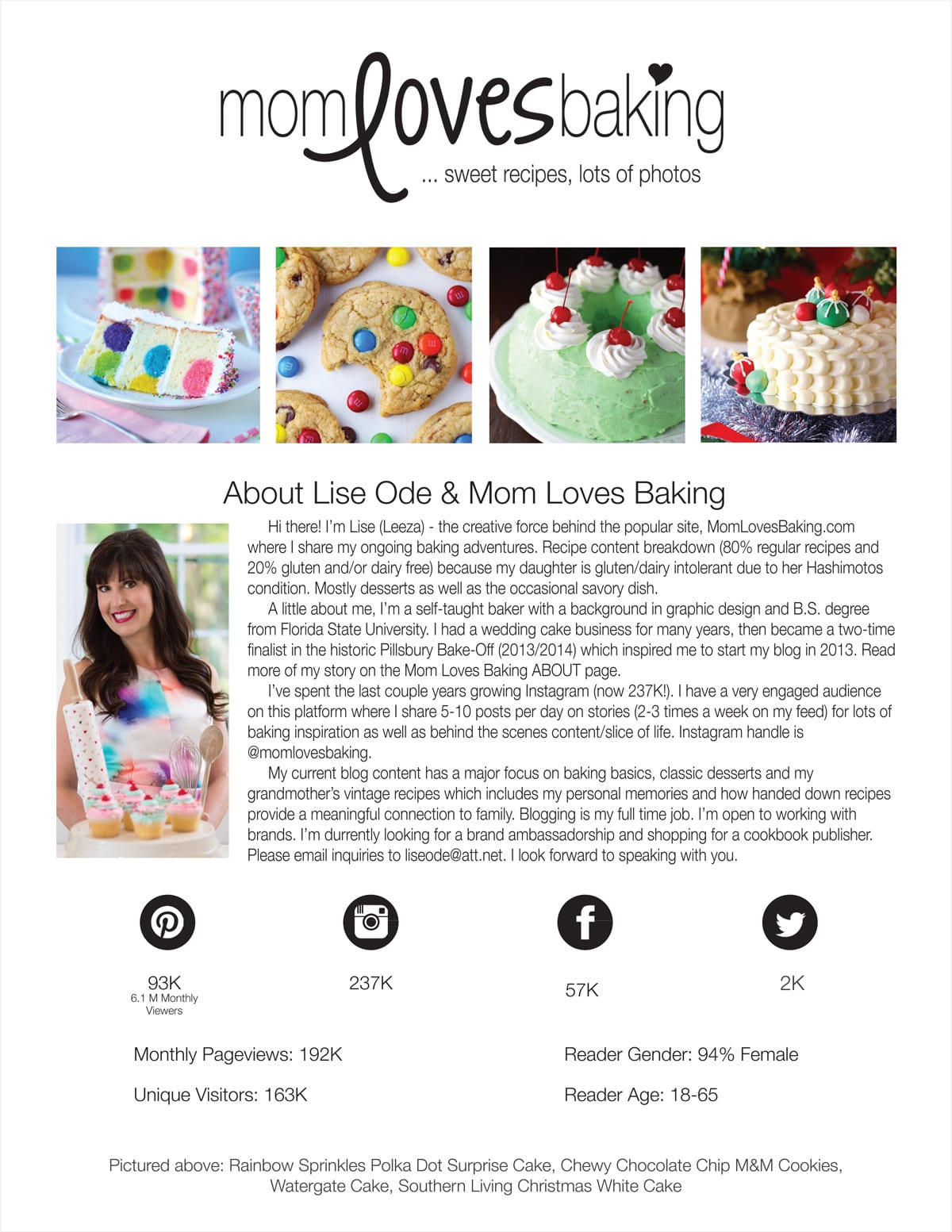 Media Kit for Mom Loves Baking page 1
