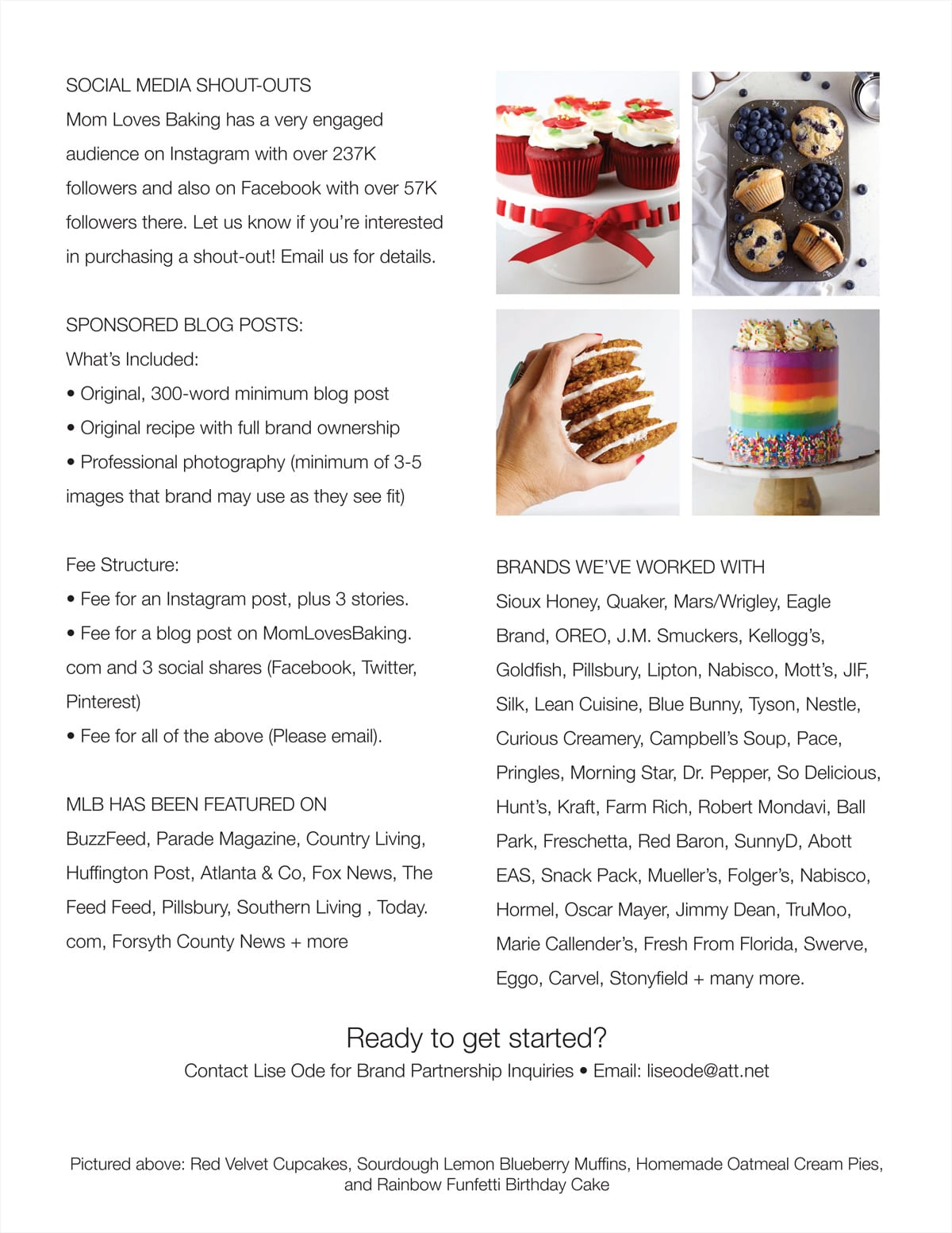 Media Kit for Mom Loves Baking page 2
