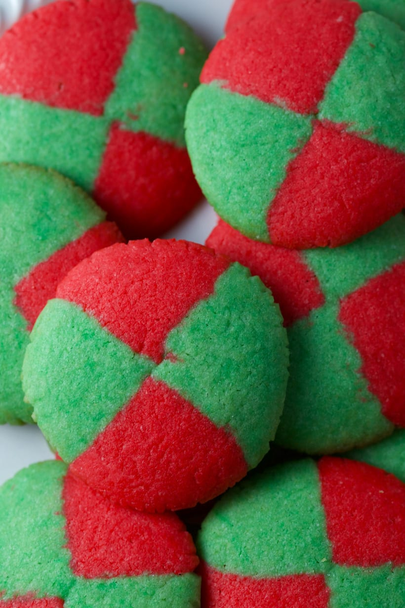 Christmas checkerboard shortbread cookies red and green