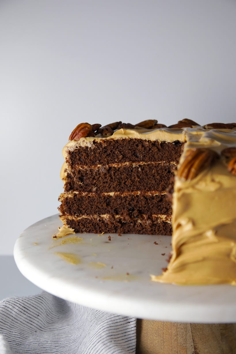 Salted caramel crazy chocolate cake with caramel cream cheese frosting easy recipe cake slices