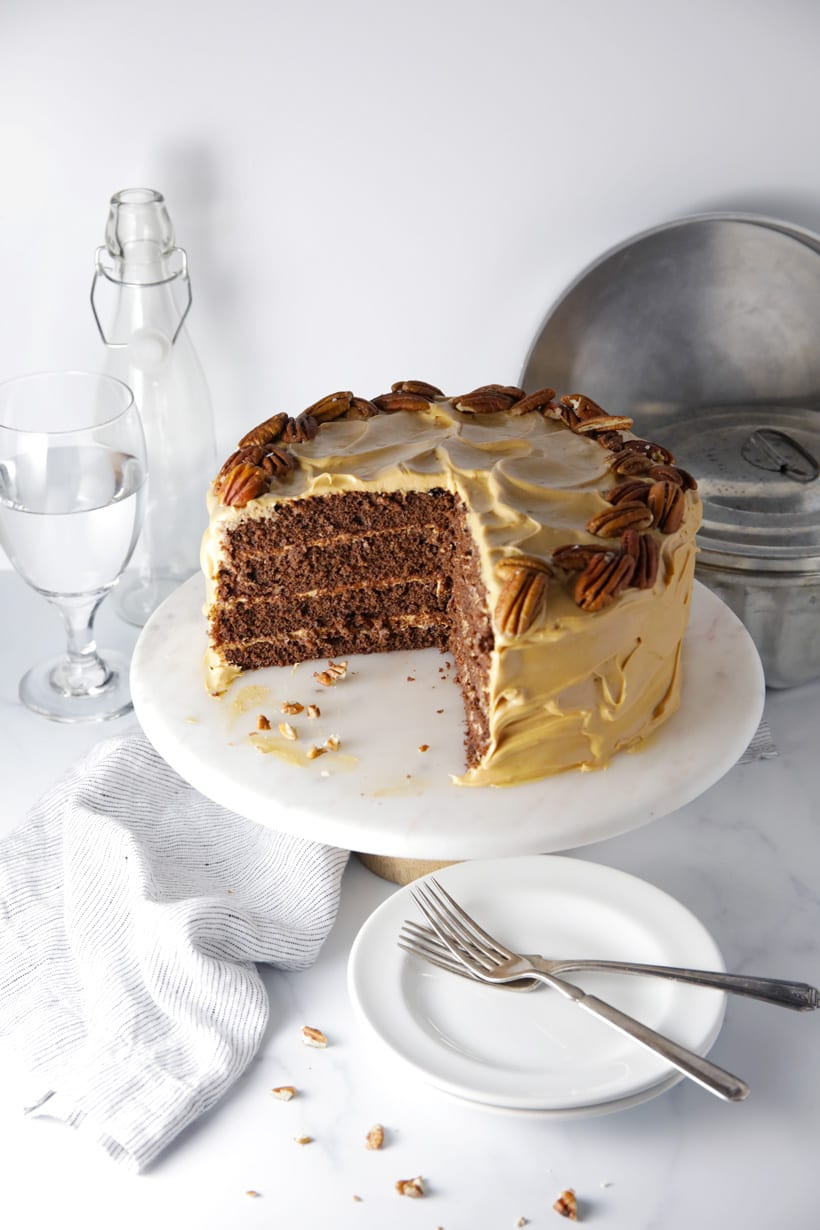 Easy Salted caramel crazy chocolate cake with caramel cream cheese frosting sliced cake