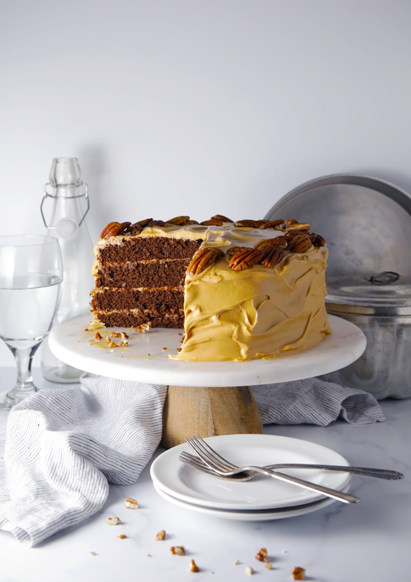 Salted caramel crazy chocolate cake with caramel cream cheese frosting easy recipe