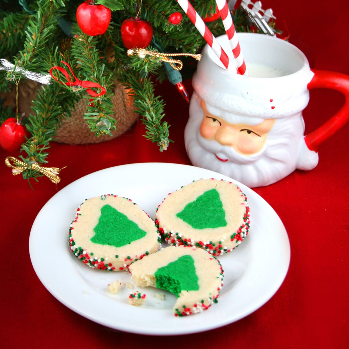 Slice and bake christmas tree cookies