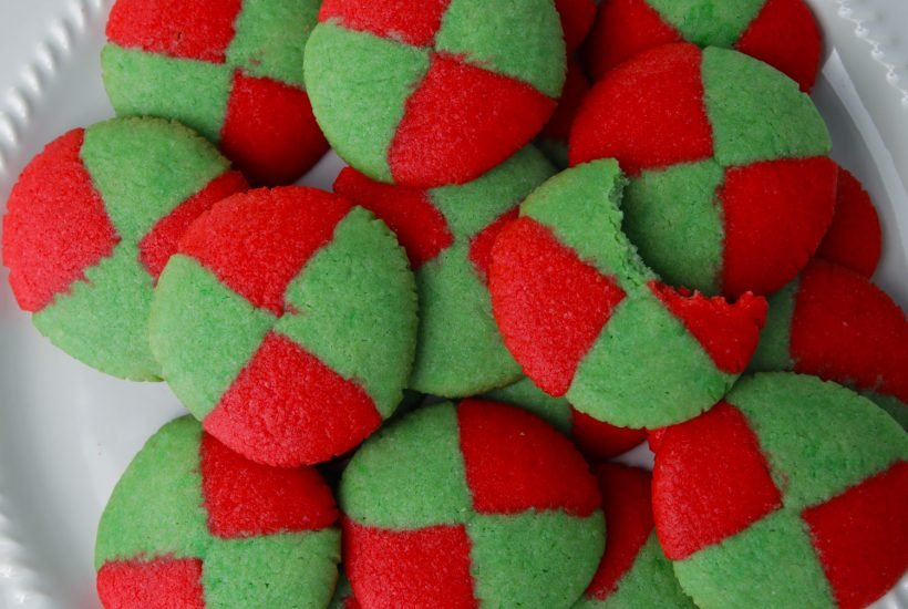 Checker board Christmas cookies red and green pattern