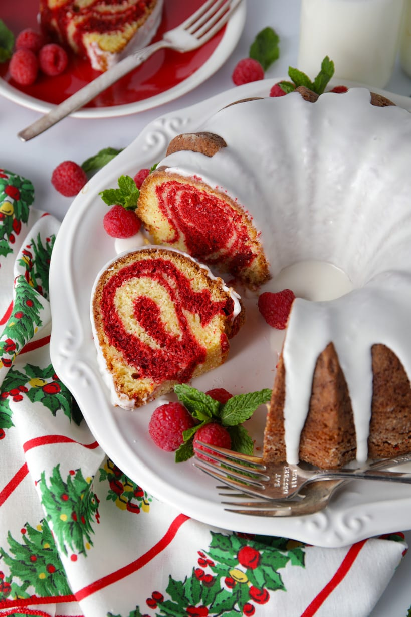 Easy recipe for red velvet marble bundt cake made with cake mix