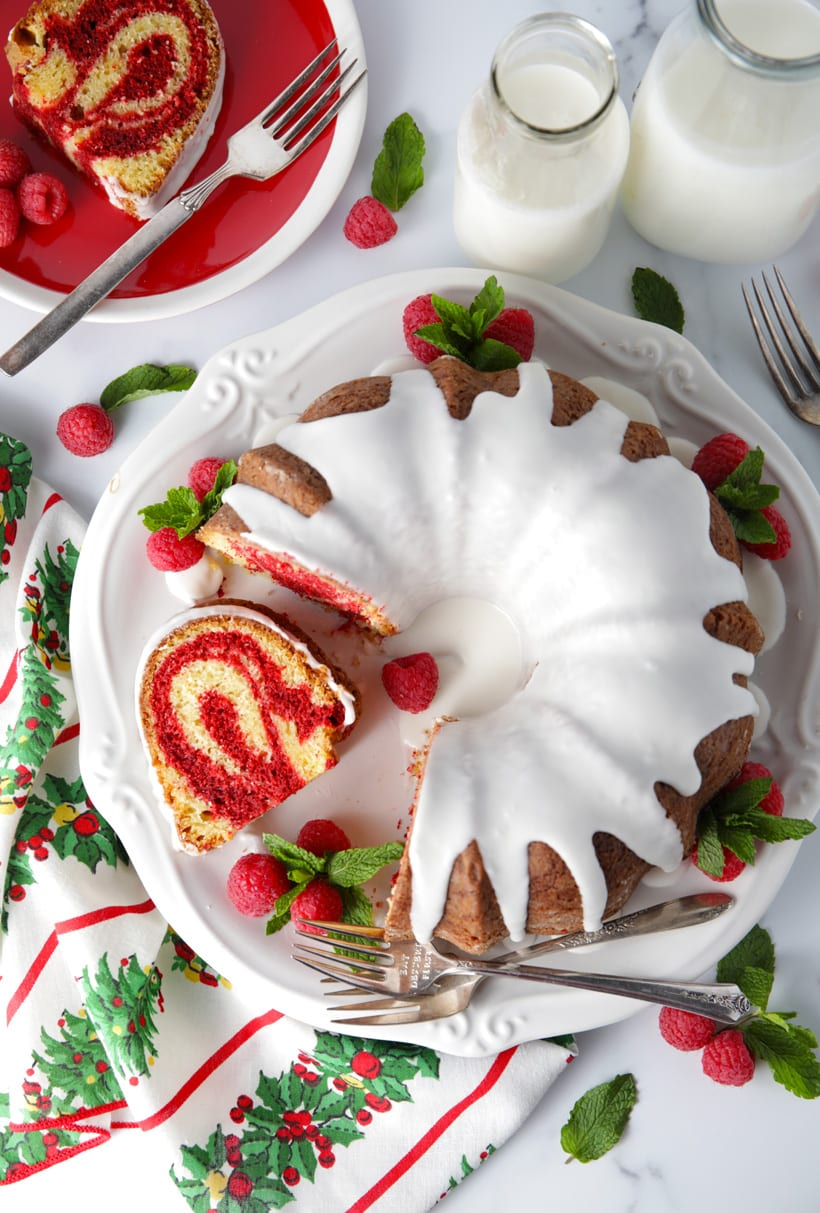 Red velvet marble bundt cake perfect for the holidays