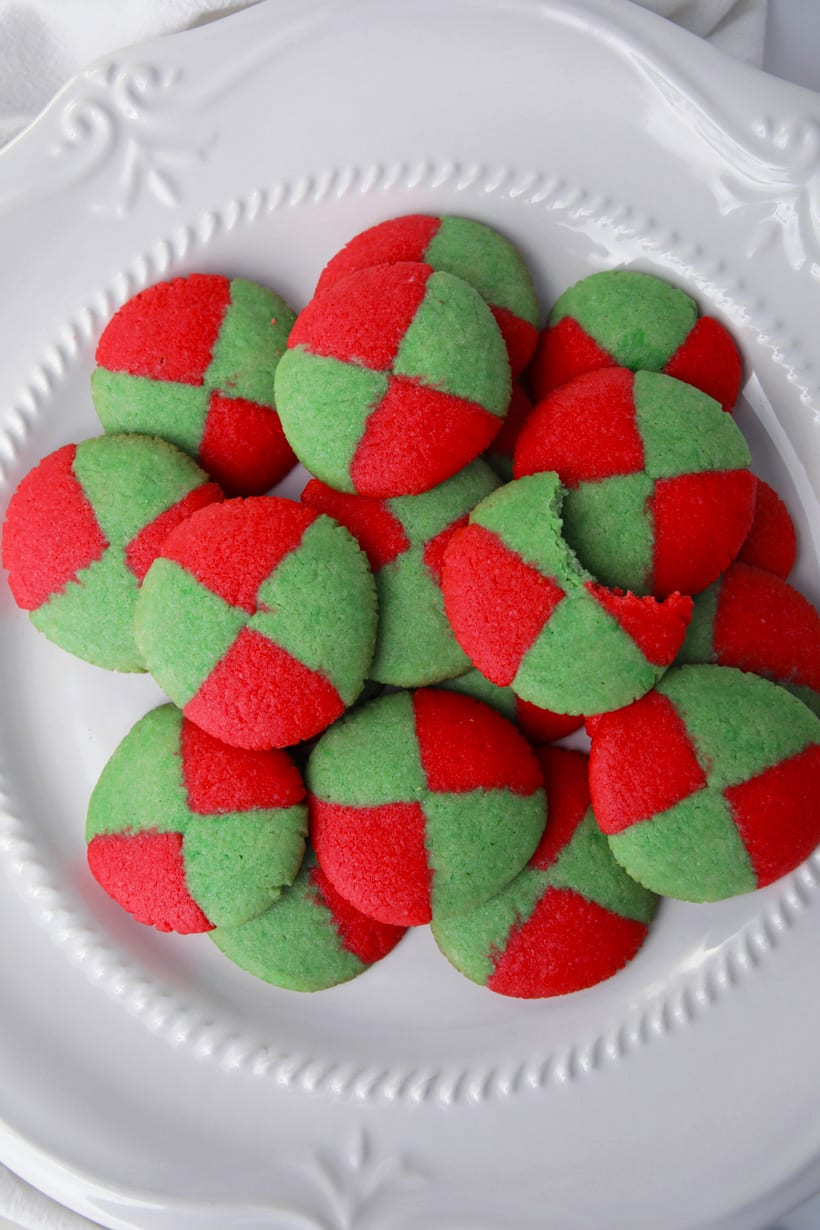 Christmas checkerboards cookies on a plate easy recipe
